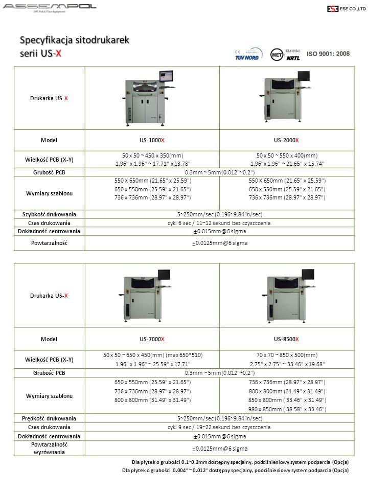 Dla płytek o grubości 0.1~0.3mm dostępny specjalny, podciśnieniowy system podparcia (Opcja) Dla płytek o grubości 0.004 ~ 0.012 dostępny specjalny, podciśnieniowy system podparcia (Opcja) Drukarka US-X ModelUS-1000XUS-2000X Wielkość PCB (X-Y) 50 x 50 ~ 450 x 350(mm) 50 x 50 ~ 550 x 400(mm) 1.96 x 1.96 ~ 17.71 x 13.78 1.96 x 1.96 ~ 21.65 x 15.74 Grubość PCB 0.3mm ~ 5mm(0.012 ~0.2 ) Wymiary szablonu 550 X 650mm (21.65 x 25.59 ) 650 x 550mm (25.59 x 21.65 ) 736 x 736mm (28.97 x 28.97 ) Szybkość drukowania 5~250mm/sec (0.196~9.84 in/sec) Czas drukowaniacykl 6 sec / 11~12 sekund bez czyszczenia Dokładność centrowania ±0.015mm@6 sigma Powtarzalność ±0.0125mm@6 sigma Drukarka US-X ModelUS-7000XUS-8500X Wielkość PCB (X-Y) 50 x 50 ~ 650 x 450(mm) (max 650*510) 70 x 70 ~ 850 x 500(mm) 1.96 x 1.96 ~ 25.59 x 17.71 2.75 x 2.75 ~ 33.46 x 19.68 Grubość PCB 0.3mm ~ 5mm(0.012 ~0.2 ) Wymiary szablonu 650 x 550mm (25.59 x 21.65 ) 736 x 736mm (28.97 x 28.97 ) 800 x 800mm (31.49 x 31.49 ) 850 x 800mm ( 33.46 x 31.49 ) 980 x 850mm ( 38.58 x 33.46 ) Prędkość drukowania 5~250mm/sec (0.196~9.84 in/sec) Czas drukowaniacykl 9 sec / 19~22 sekund bez czyszczenia Dokładność centrowania ±0.015mm@6 sigma Powtarzalność wyrównania ±0.0125mm@6 sigma