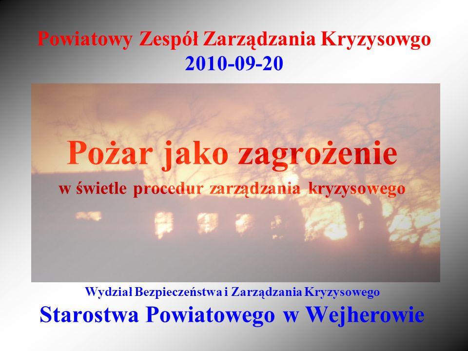 Powiatowy Zespół Zarządzania Kryzysowgo 2010-09-20 Pożar jako zagrożenie w świetle procedur zarządzania kryzysowego Wydział Bezpieczeństwa i Zarządzan