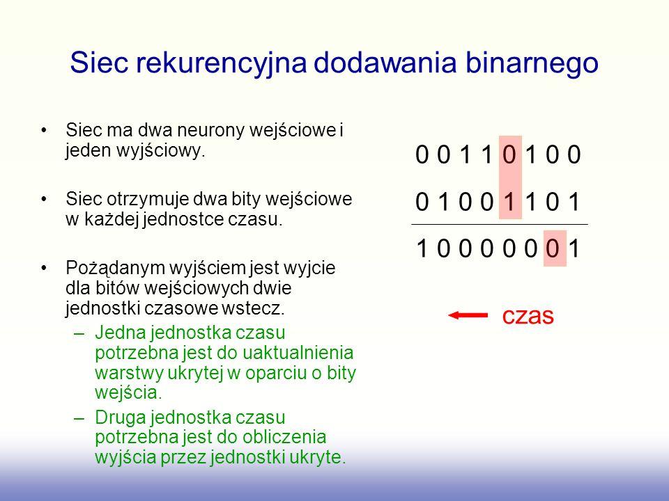 Siec rekurencyjna dodawania binarnego Siec ma dwa neurony wejściowe i jeden wyjściowy. Siec otrzymuje dwa bity wejściowe w każdej jednostce czasu. Poż