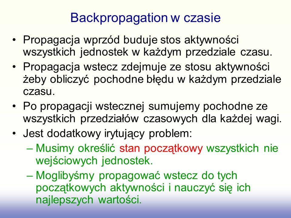 Backpropagation w czasie Propagacja wprzód buduje stos aktywności wszystkich jednostek w każdym przedziale czasu. Propagacja wstecz zdejmuje ze stosu