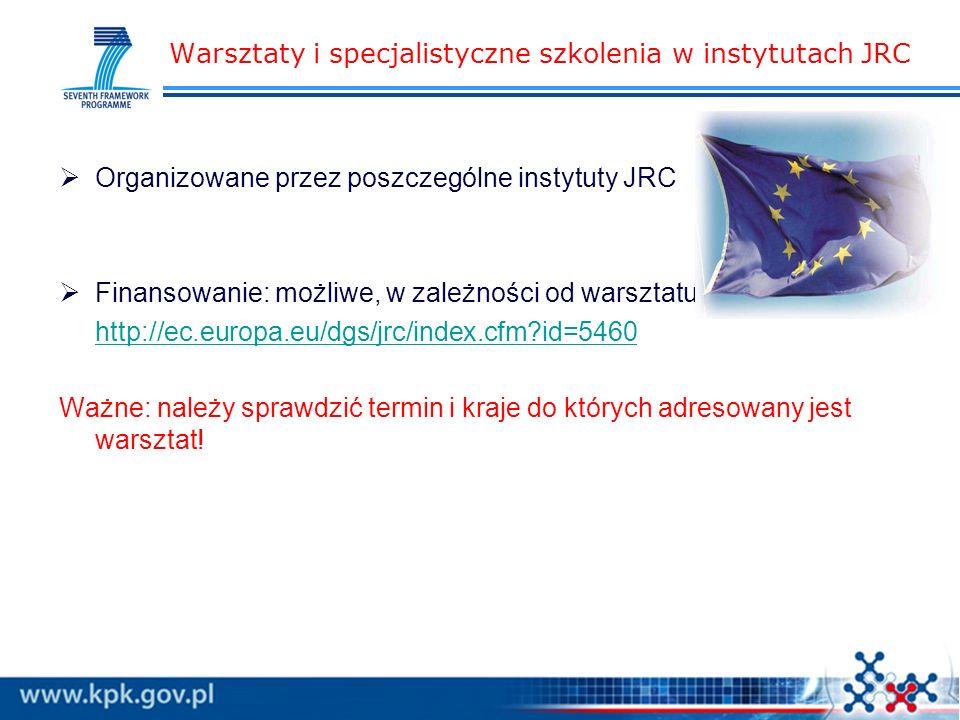 Warsztaty i specjalistyczne szkolenia w instytutach JRC Organizowane przez poszczególne instytuty JRC Finansowanie: możliwe, w zależności od warsztatu http://ec.europa.eu/dgs/jrc/index.cfm id=5460 Ważne: należy sprawdzić termin i kraje do których adresowany jest warsztat!