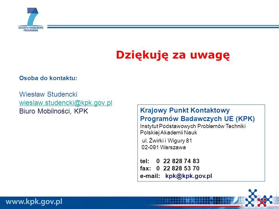 Dziękuję za uwagę Krajowy Punkt Kontaktowy Programów Badawczych UE (KPK) Instytut Podstawowych Problemów Techniki Polskiej Akademii Nauk ul.