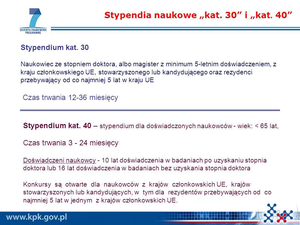 Stypendia naukowe kat. 30 i kat. 40 Stypendium kat.