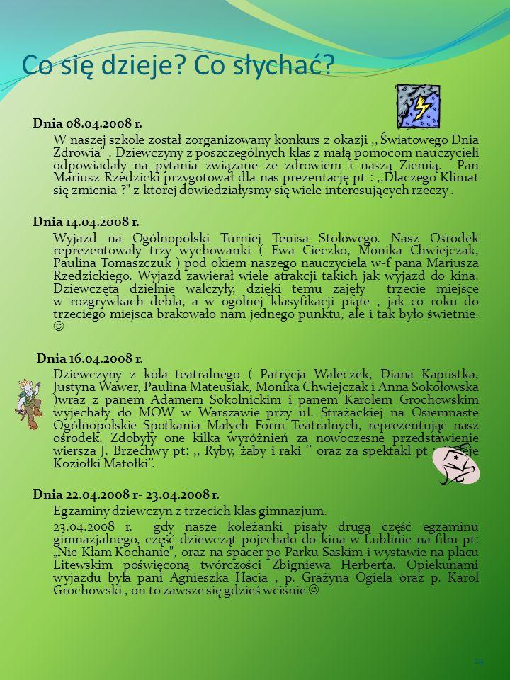 14 Co się dzieje? Co słychać? Dnia 08.04.2008 r. W naszej szkole został zorganizowany konkurs z okazji,, Światowego Dnia Zdrowia. Dziewczyny z poszcze