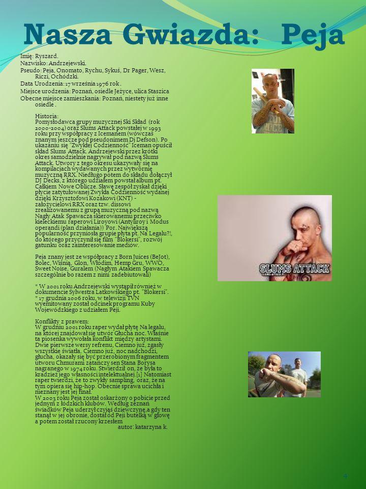 4 Nasza Gwiazda: Peja Imię: Ryszard. Nazwisko: Andrzejewski. Pseudo: Peja, Onomato, Rychu, Sykuś, Dr Pager, Wesz, Riczi, Ochódzki. Data Urodzenia: 17