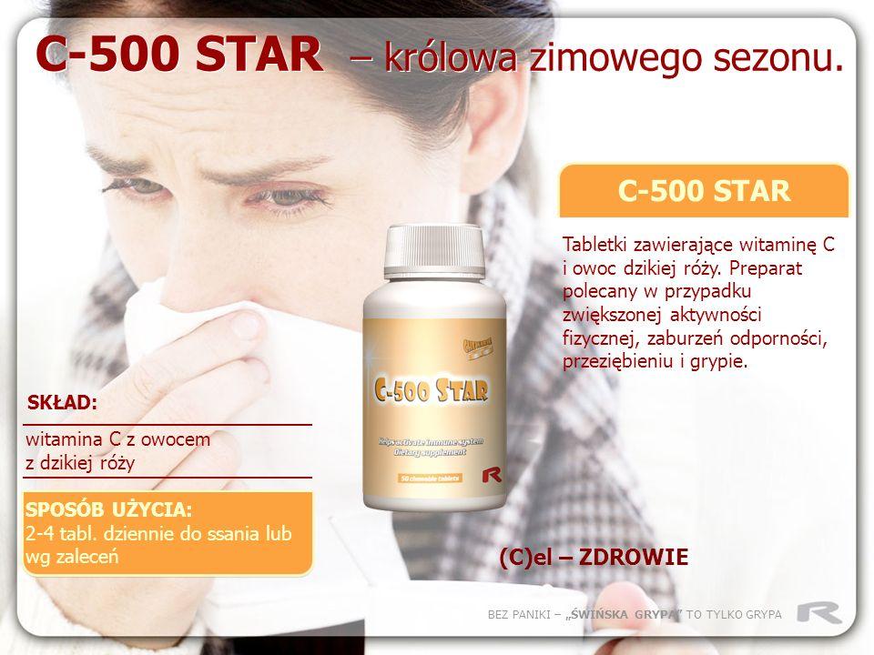 BEZ PANIKI – ŚWIŃSKA GRYPA TO TYLKO GRYPA C-500 STAR Tabletki zawierające witaminę C i owoc dzikiej róży. Preparat polecany w przypadku zwiększonej ak