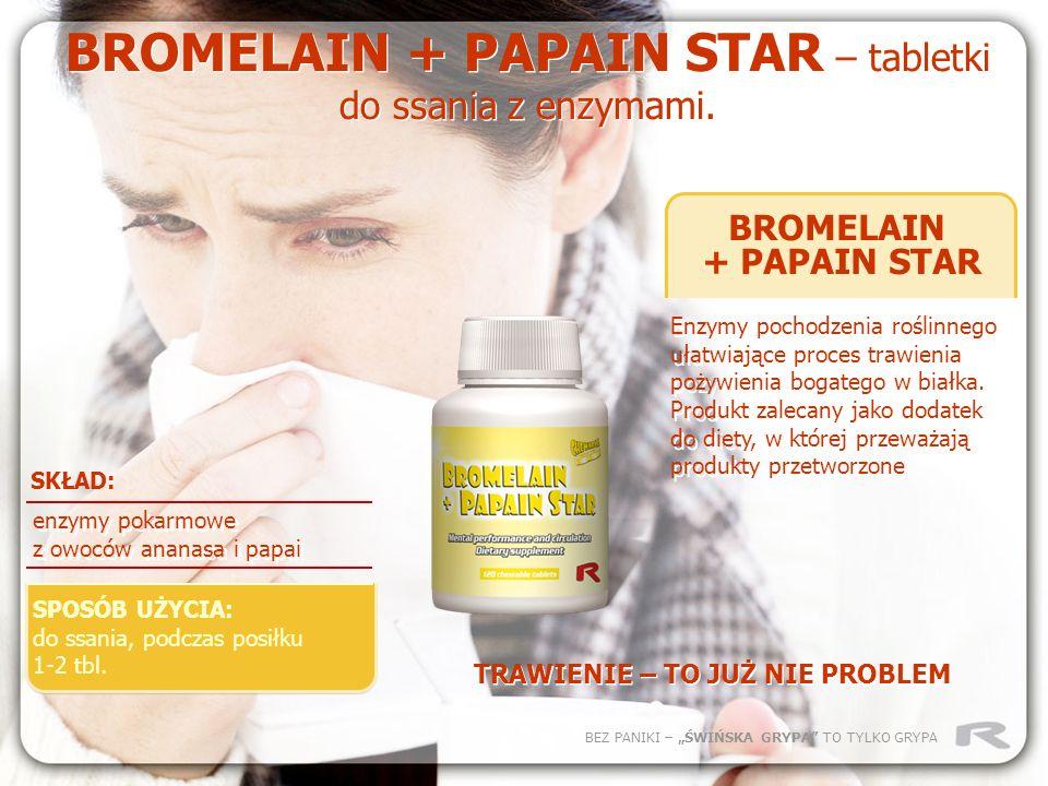 BEZ PANIKI – ŚWIŃSKA GRYPA TO TYLKO GRYPA BROMELAIN + PAPAIN STAR Enzymy pochodzenia roślinnego ułatwiające proces trawienia pożywienia bogatego w bia