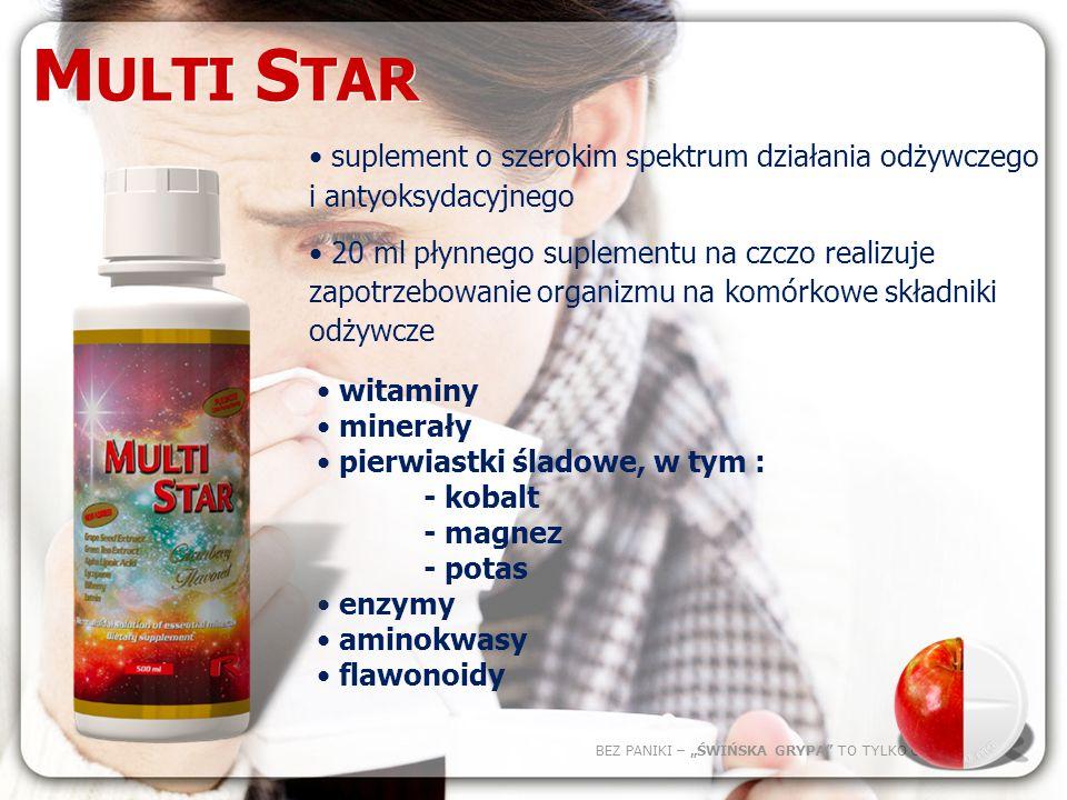 BEZ PANIKI – ŚWIŃSKA GRYPA TO TYLKO GRYPA M ULTI S TAR – kompleksowy produkt odżywczy.