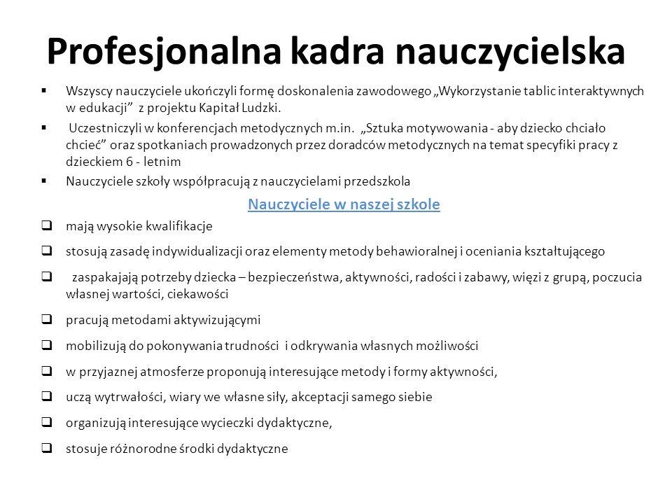 Profesjonalna kadra nauczycielska Wszyscy nauczyciele ukończyli formę doskonalenia zawodowego Wykorzystanie tablic interaktywnych w edukacji z projekt