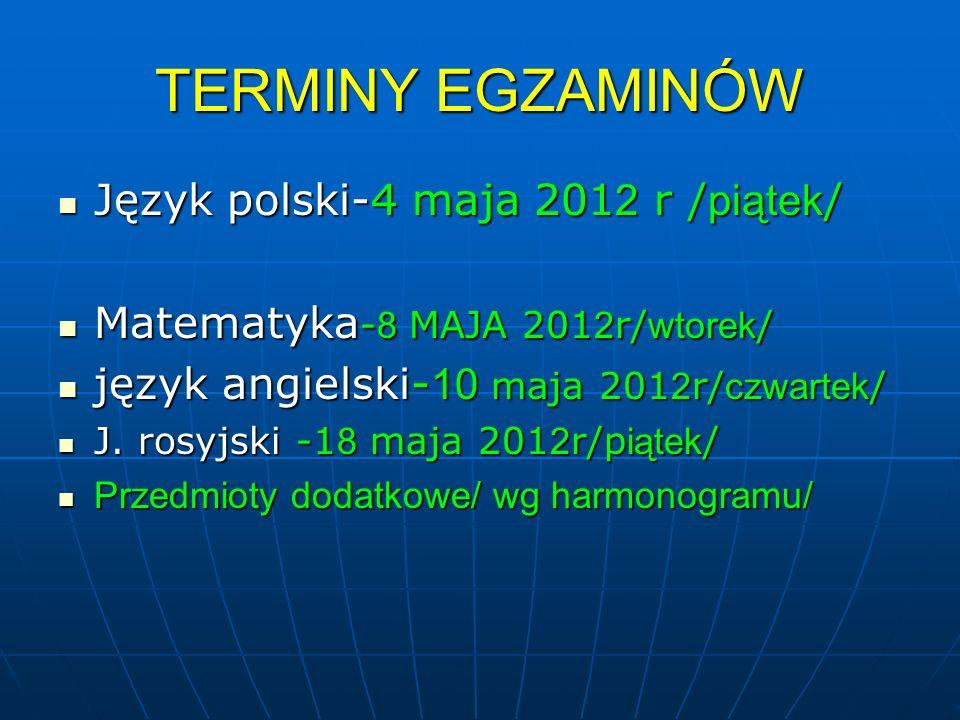TERMINY EGZAMINÓW Język polski-4 maja 201 2 r / piątek / Język polski-4 maja 201 2 r / piątek / Matematyka - 8 MAJA 201 2 r/ wtorek / Matematyka - 8 M