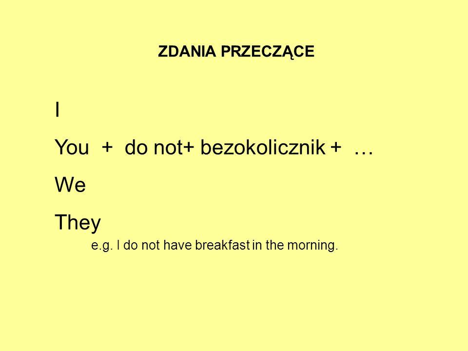 ZDANIA PRZECZĄCE I You + do not+ bezokolicznik + … We They e.g. I do not have breakfast in the morning.