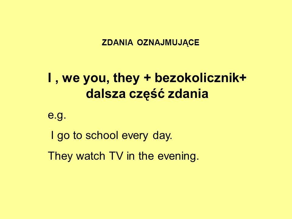 ZDANIA OZNAJMUJĄCE I, we you, they + bezokolicznik+ dalsza część zdania e.g. I go to school every day. They watch TV in the evening.