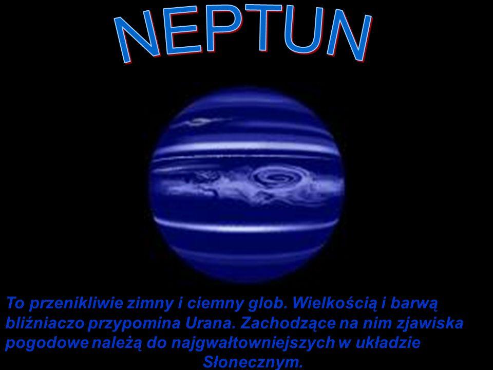To przenikliwie zimny i ciemny glob. Wielkością i barwą bliźniaczo przypomina Urana. Zachodzące na nim zjawiska pogodowe należą do najgwałtowniejszych