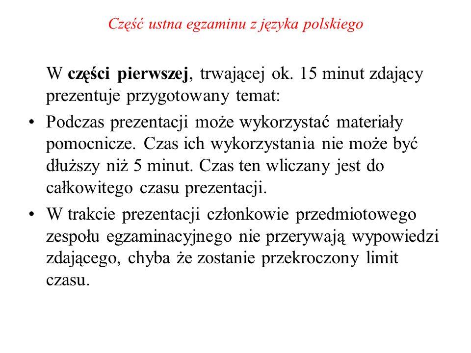 Część ustna egzaminu z języka polskiego W części pierwszej, trwającej ok. 15 minut zdający prezentuje przygotowany temat: Podczas prezentacji może wyk