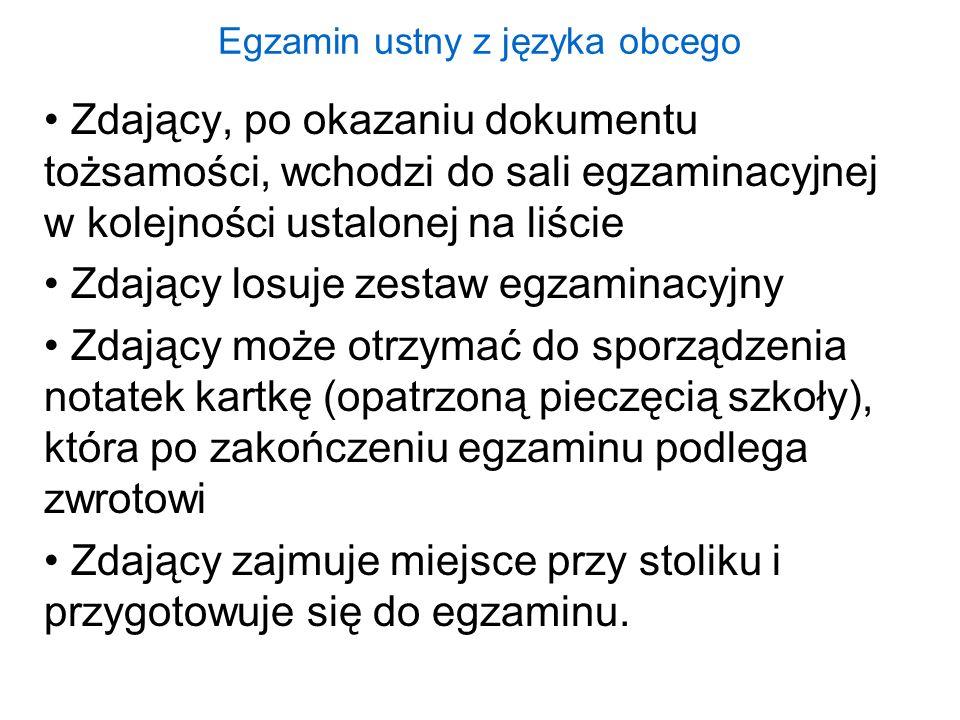 Egzamin ustny z języka obcego Zdający, po okazaniu dokumentu tożsamości, wchodzi do sali egzaminacyjnej w kolejności ustalonej na liście Zdający losuj