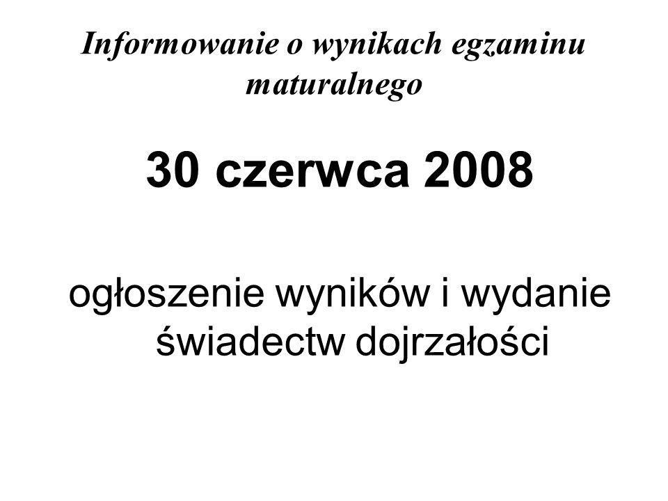 Informowanie o wynikach egzaminu maturalnego 30 czerwca 2008 ogłoszenie wyników i wydanie świadectw dojrzałości