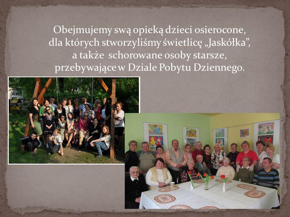 Obejmujemy swą opieką dzieci osierocone, dla których stworzyliśmy świetlicę Jaskółka, a także schorowane osoby starsze, przebywające w Dziale Pobytu D