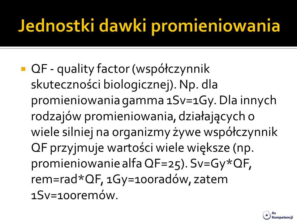 QF - quality factor (współczynnik skuteczności biologicznej). Np. dla promieniowania gamma 1Sv=1Gy. Dla innych rodzajów promieniowania, działających o