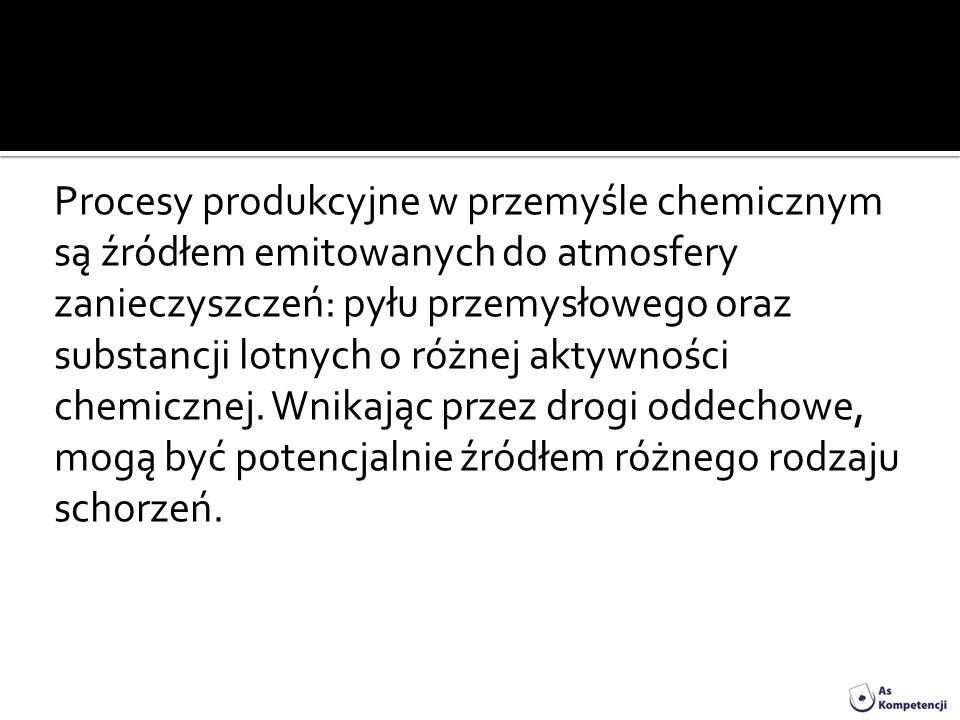 Procesy produkcyjne w przemyśle chemicznym są źródłem emitowanych do atmosfery zanieczyszczeń: pyłu przemysłowego oraz substancji lotnych o różnej akt
