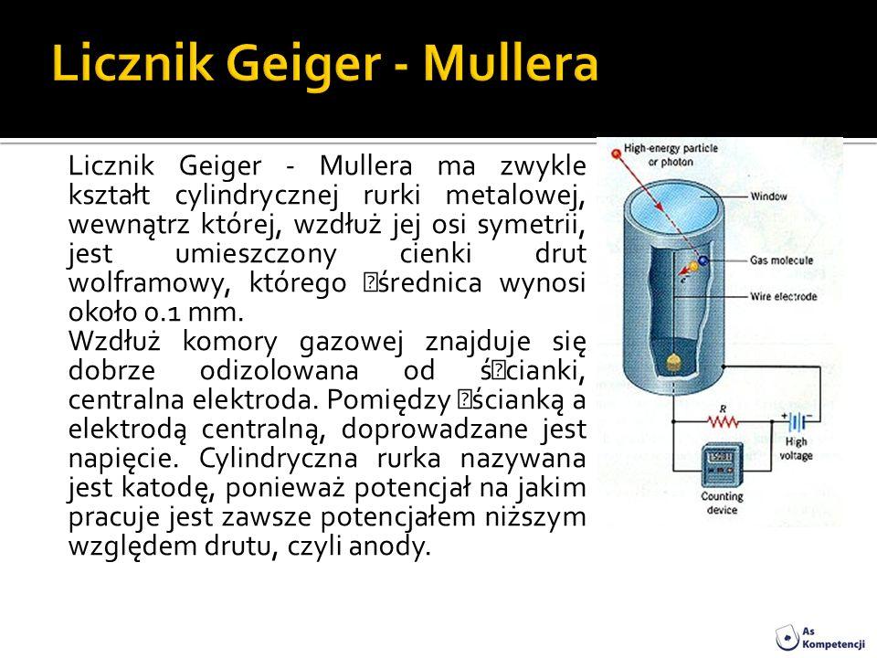 Licznik Geiger - Mullera ma zwykle kształt cylindrycznej rurki metalowej, wewnątrz której, wzdłuż jej osi symetrii, jest umieszczony cienki drut wolfr