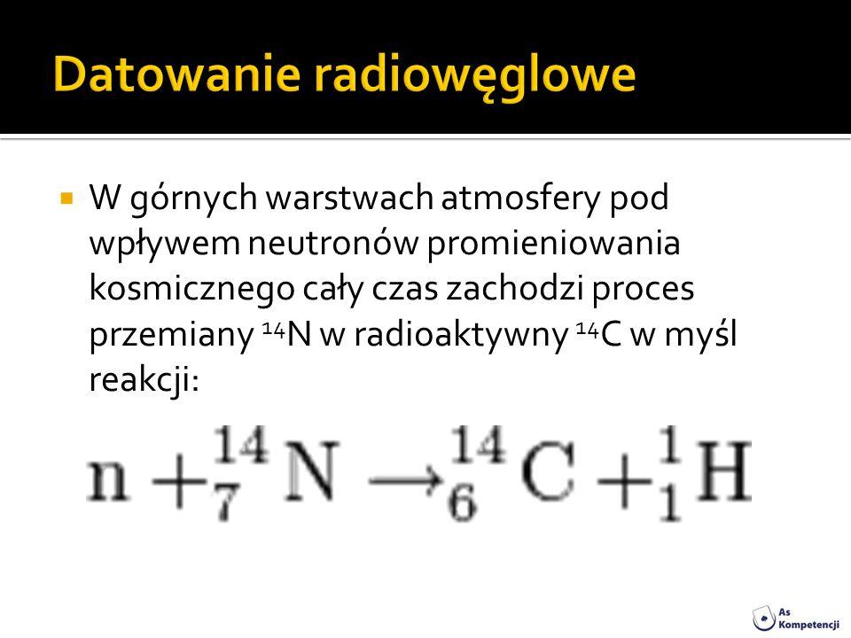W górnych warstwach atmosfery pod wpływem neutronów promieniowania kosmicznego cały czas zachodzi proces przemiany 14 N w radioaktywny 14 C w myśl rea