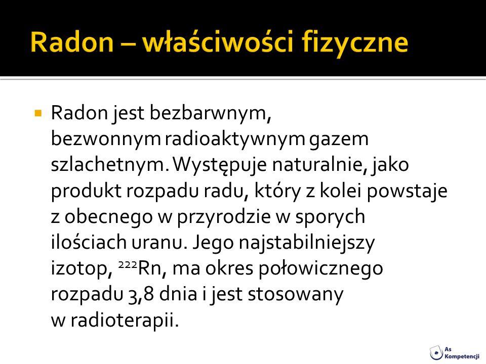 Radon jest bezbarwnym, bezwonnym radioaktywnym gazem szlachetnym. Występuje naturalnie, jako produkt rozpadu radu, który z kolei powstaje z obecnego w