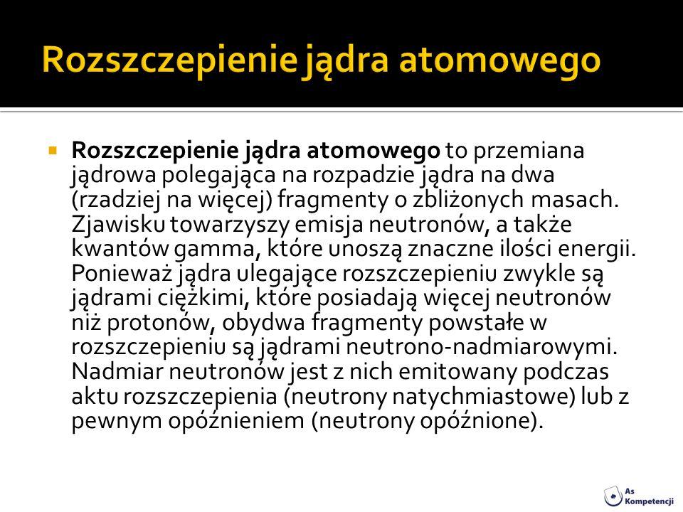 Rozszczepienie jądra atomowego to przemiana jądrowa polegająca na rozpadzie jądra na dwa (rzadziej na więcej) fragmenty o zbliżonych masach. Zjawisku