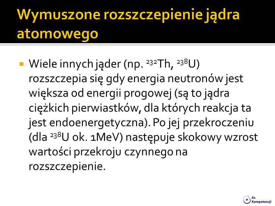 Wiele innych jąder (np. 232 Th, 238 U) rozszczepia się gdy energia neutronów jest większa od energii progowej (są to jądra ciężkich pierwiastków, dla