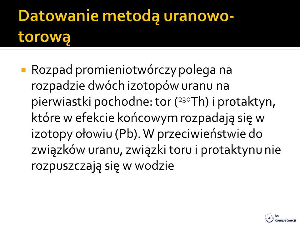 Rozpad promieniotwórczy polega na rozpadzie dwóch izotopów uranu na pierwiastki pochodne: tor ( 230 Th) i protaktyn, które w efekcie końcowym rozpadaj