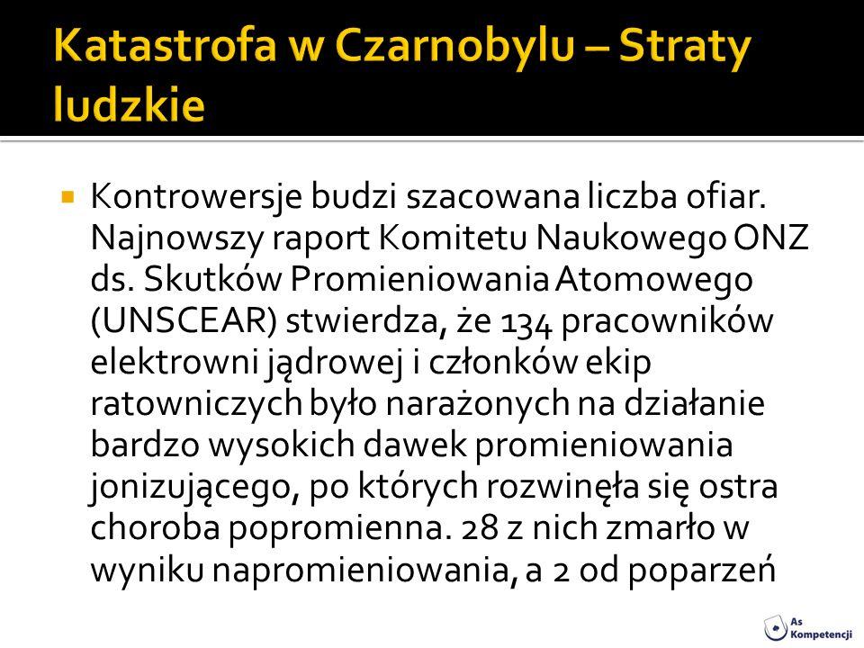 Kontrowersje budzi szacowana liczba ofiar. Najnowszy raport Komitetu Naukowego ONZ ds. Skutków Promieniowania Atomowego (UNSCEAR) stwierdza, że 134 pr