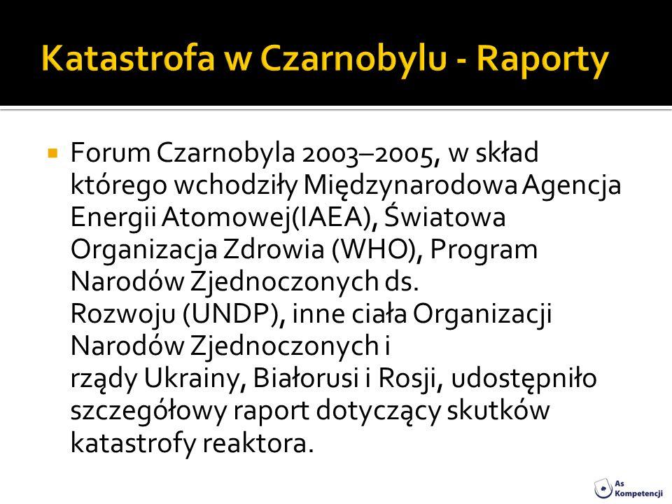 Forum Czarnobyla 2003–2005, w skład którego wchodziły Międzynarodowa Agencja Energii Atomowej(IAEA), Światowa Organizacja Zdrowia (WHO), Program Narod