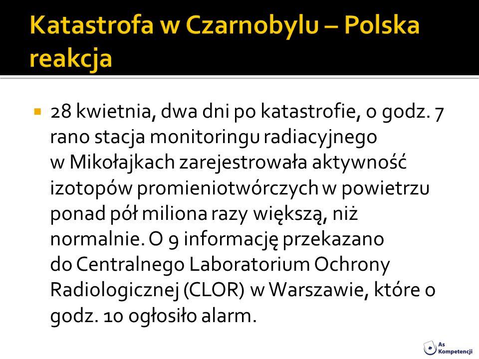 28 kwietnia, dwa dni po katastrofie, o godz. 7 rano stacja monitoringu radiacyjnego w Mikołajkach zarejestrowała aktywność izotopów promieniotwórczych