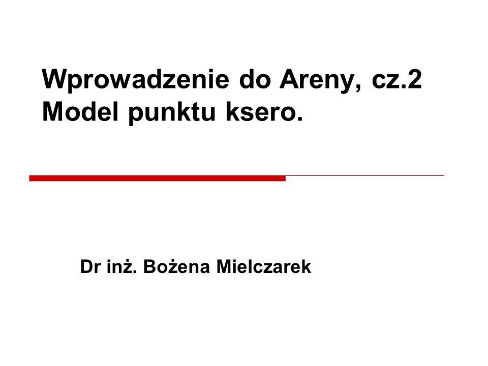 Dr inż. Bożena Mielczarek Wprowadzenie do Areny, cz.2 Model punktu ksero.