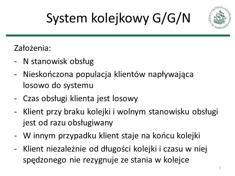 System kolejkowy G/G/N Założenia: -N stanowisk obsług -Nieskończona populacja klientów napływająca losowo do systemu -Czas obsługi klienta jest losowy