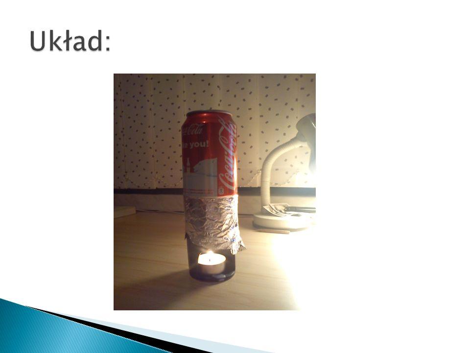 Pomiar pierwszy – 150 ml wody Średnia moc świeczki – 3,552 W