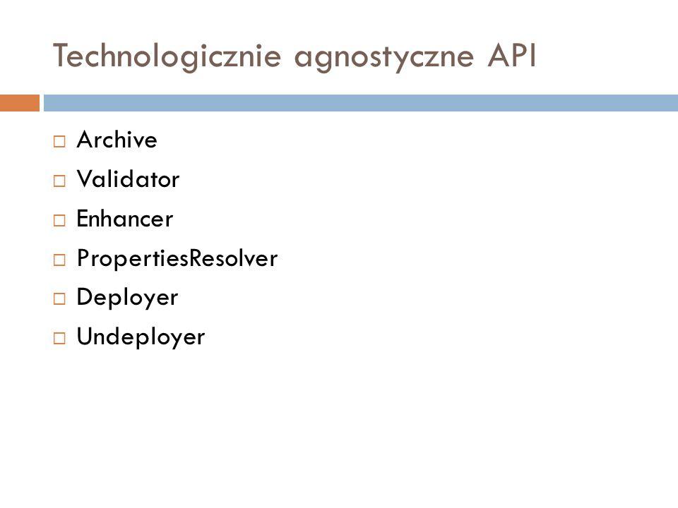 Technologicznie agnostyczne API Archive Validator Enhancer PropertiesResolver Deployer Undeployer