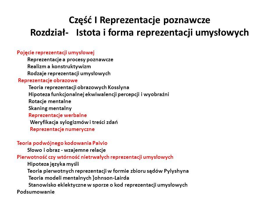 Część I Reprezentacje poznawcze Rozdział- Istota i forma reprezentacji umysłowych Pojęcie reprezentacji umysłowej Reprezentacje a procesy poznawcze Re