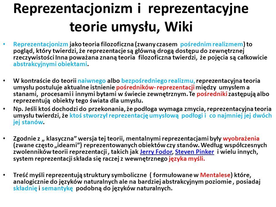 Reprezentacjonizm i reprezentacyjne teorie umysłu, Wiki Reprezentacjonizm jako teoria filozoficzna (zwany czasem pośrednim realizmem) to pogląd, który