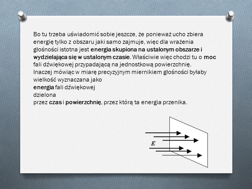 Bo tu trzeba uświadomić sobie jeszcze, że ponieważ ucho zbiera energię tylko z obszaru jaki samo zajmuje, więc dla wrażenia głośności istotna jest ene