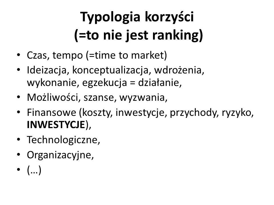 Typologia korzyści (=to nie jest ranking) Czas, tempo (=time to market) Ideizacja, konceptualizacja, wdrożenia, wykonanie, egzekucja = działanie, Możliwości, szanse, wyzwania, Finansowe (koszty, inwestycje, przychody, ryzyko, INWESTYCJE), Technologiczne, Organizacyjne, (…)