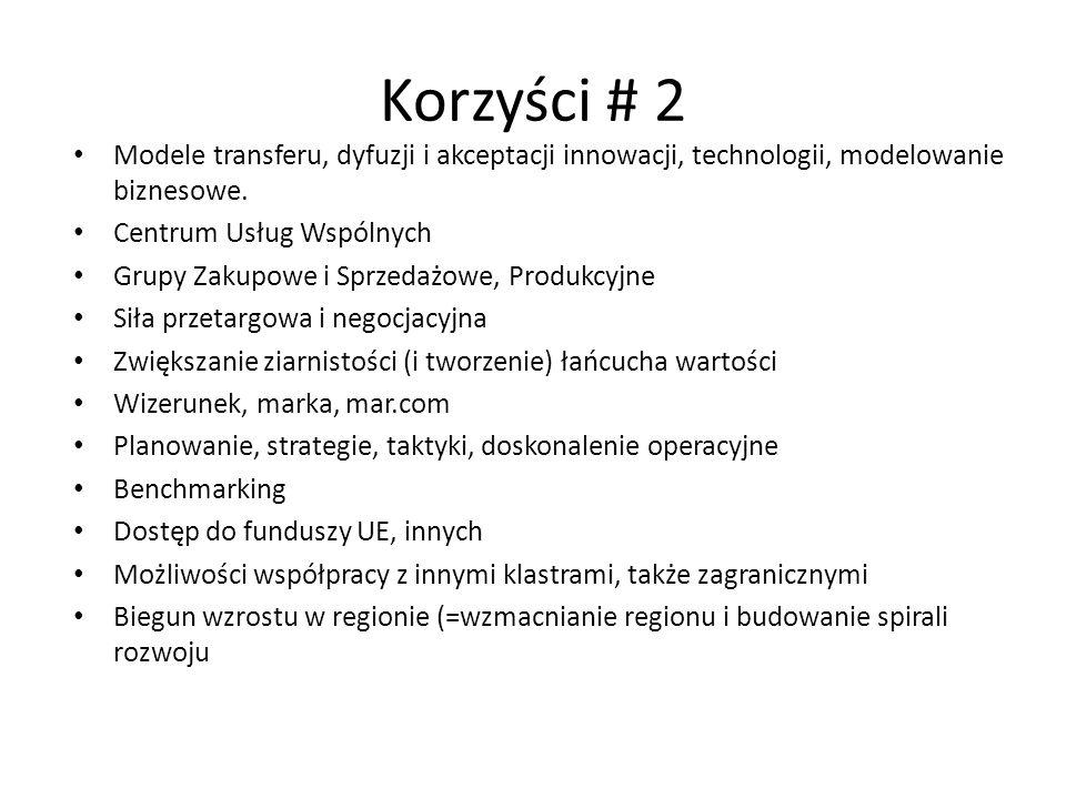 Korzyści # 2 Modele transferu, dyfuzji i akceptacji innowacji, technologii, modelowanie biznesowe. Centrum Usług Wspólnych Grupy Zakupowe i Sprzedażow