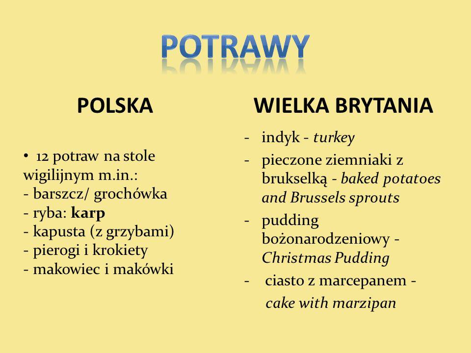 POLSKA WIELKA BRYTANIA -indyk - turkey -pieczone ziemniaki z brukselką - baked potatoes and Brussels sprouts -pudding bożonarodzeniowy - Christmas Pud