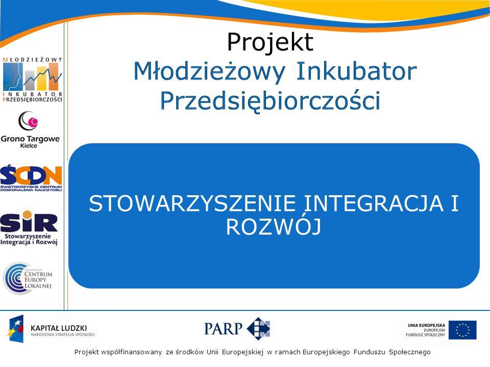 Projekt współfinansowany ze środków Unii Europejskiej w ramach Europejskiego Funduszu Społecznego STOWARZYSZENIE INTEGRACJA I ROZWÓJ