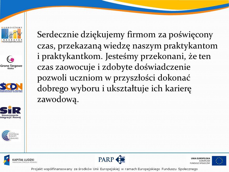 Projekt współfinansowany ze środków Unii Europejskiej w ramach Europejskiego Funduszu Społecznego Serdecznie dziękujemy firmom za poświęcony czas, przekazaną wiedzę naszym praktykantom i praktykantkom.