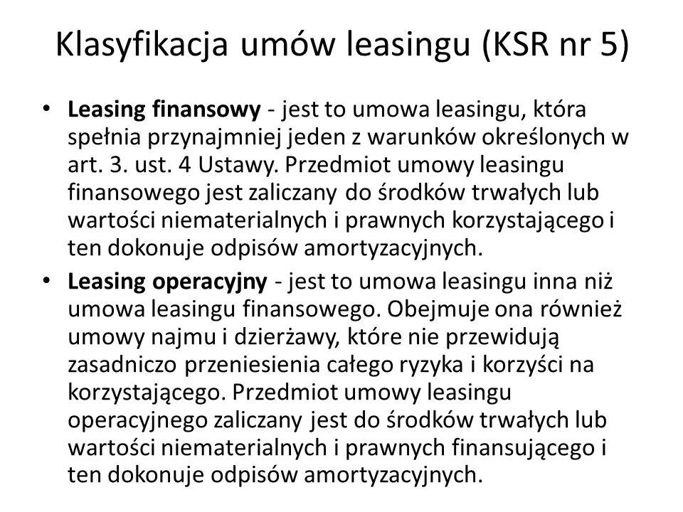 Klasyfikacja umów leasingu (KSR nr 5) Leasing finansowy - jest to umowa leasingu, która spełnia przynajmniej jeden z warunków określonych w art. 3. us