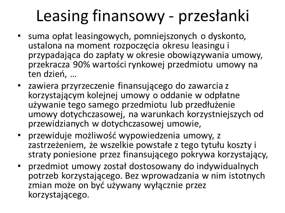 Leasing finansowy - przesłanki suma opłat leasingowych, pomniejszonych o dyskonto, ustalona na moment rozpoczęcia okresu leasingu i przypadająca do za