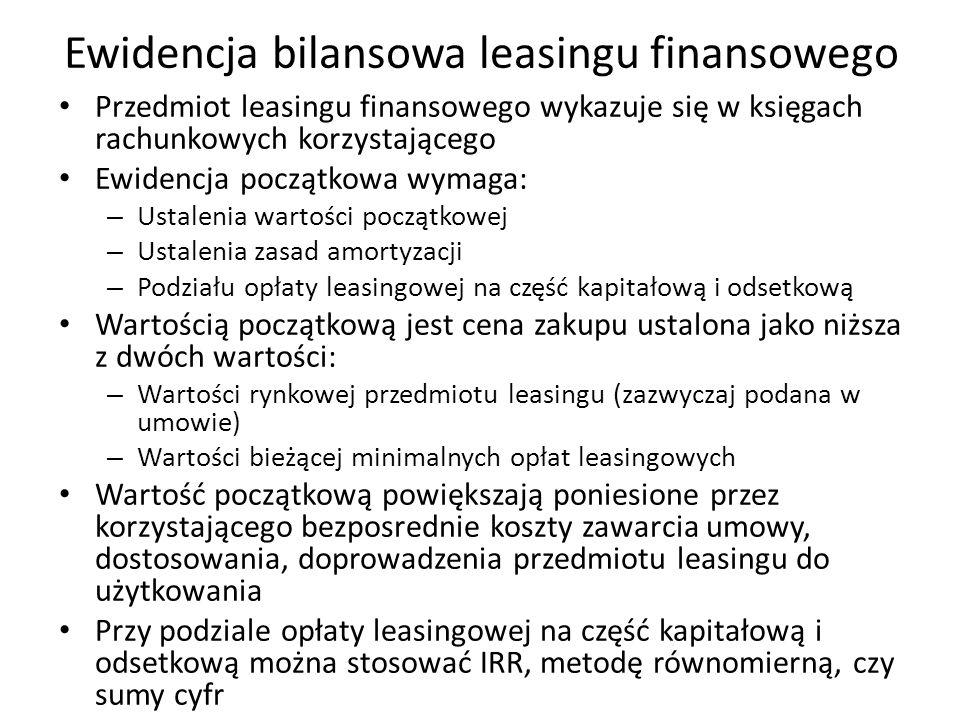 Ewidencja bilansowa leasingu finansowego Przedmiot leasingu finansowego wykazuje się w księgach rachunkowych korzystającego Ewidencja początkowa wymag