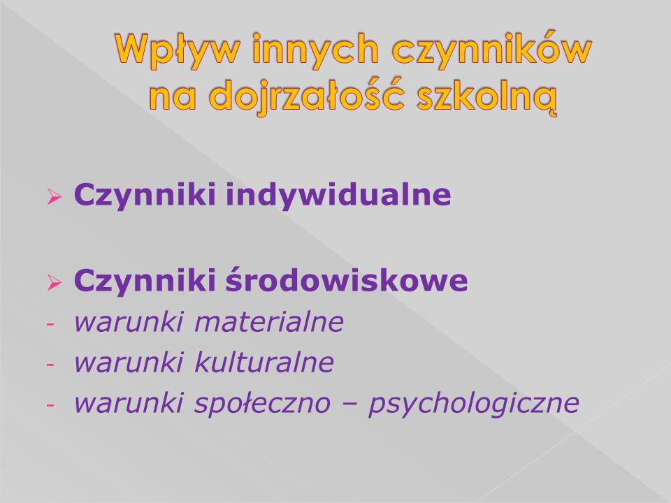 Czynniki indywidualne Czynniki środowiskowe - warunki materialne - warunki kulturalne - warunki społeczno – psychologiczne