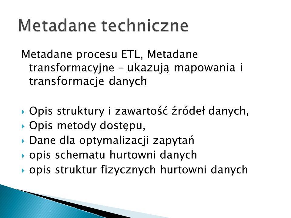 Metadane procesu ETL, Metadane transformacyjne – ukazują mapowania i transformacje danych Opis struktury i zawartość źródeł danych, Opis metody dostępu, Dane dla optymalizacji zapytań opis schematu hurtowni danych opis struktur fizycznych hurtowni danych
