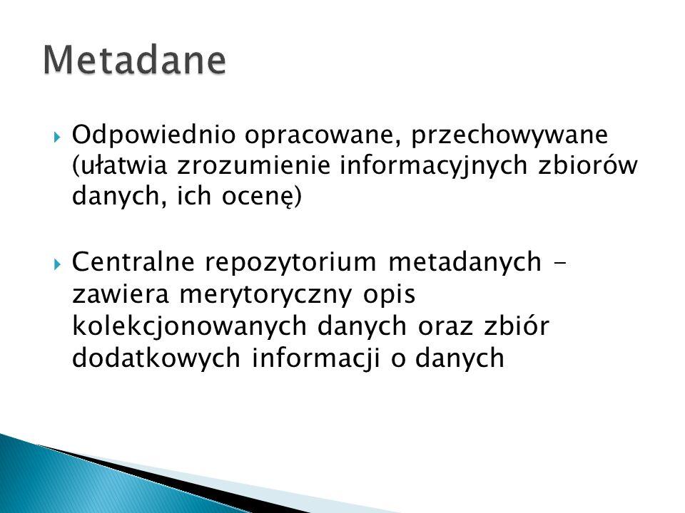 Odpowiednio opracowane, przechowywane (ułatwia zrozumienie informacyjnych zbiorów danych, ich ocenę) Centralne repozytorium metadanych - zawiera merytoryczny opis kolekcjonowanych danych oraz zbiór dodatkowych informacji o danych